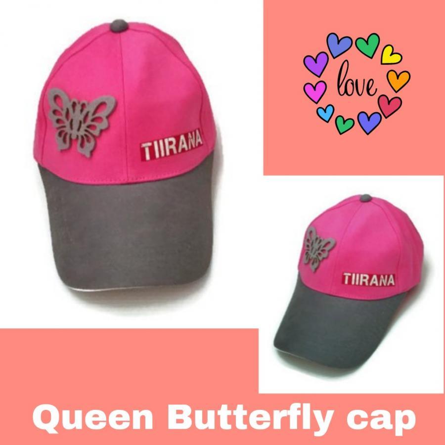 หมวกแก๊ปสำหรับสาวหวานสีทูโทนชมพูเทา