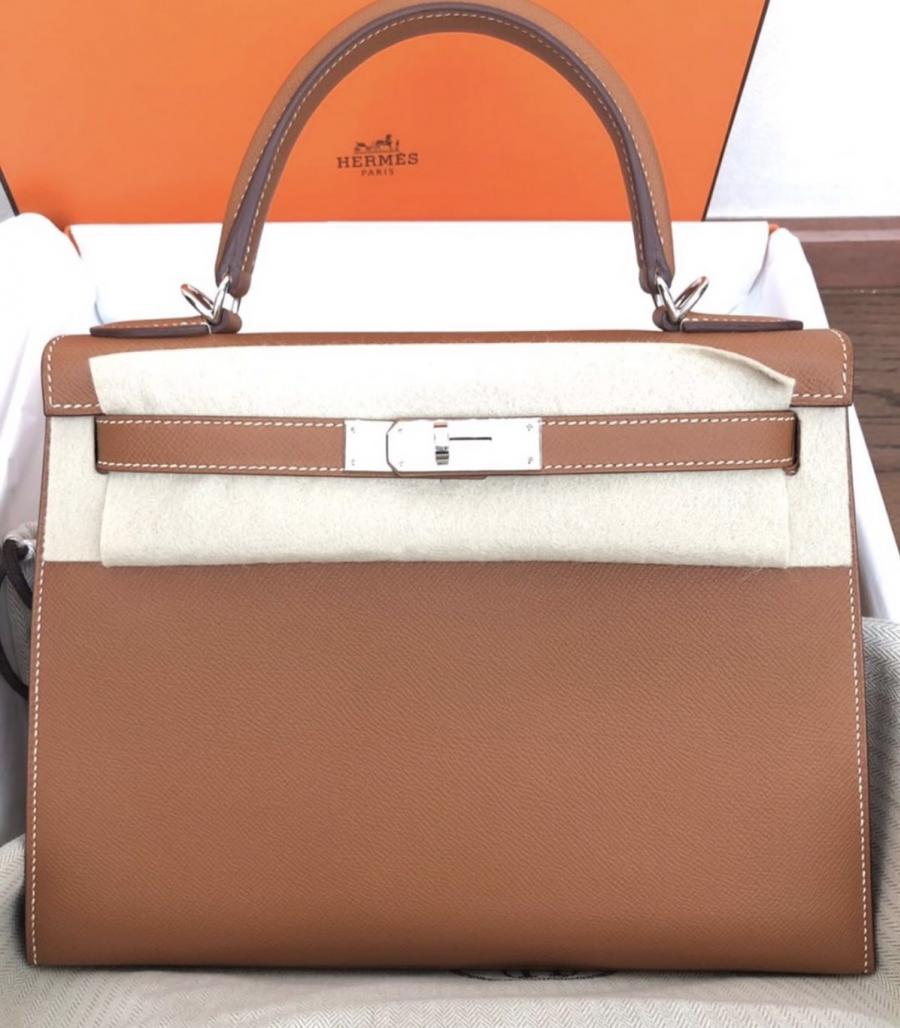New Hermès Kelly 28 Gold Epsom sellier PHW Stamp D Fullset
