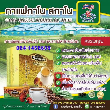 กาแฟสกาโน Gano Ginseng Tongkat Ali Coffee