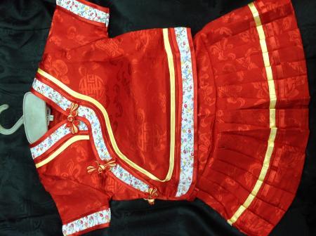 ชุดจีน เด็กหญิง เสื้อผ่าเฉียง กระโปรงพลีท
