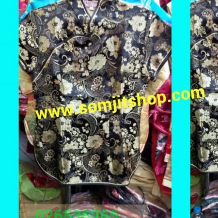 เสื้อจีนผู้หญิง กระดุมข้าง สีดำทอง