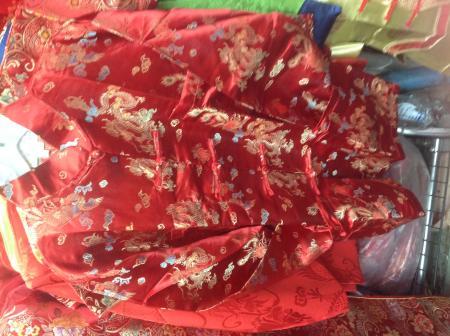 เสื้อจีนชาย สีแดง ลายมังกรหงส์