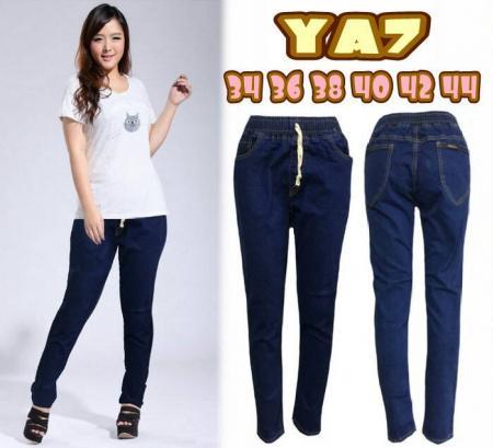 กางเกงยีนส์ขายาวไซส์ใหญ่ เอวยางยืด สีเมจิก บล็อกใหญ่
