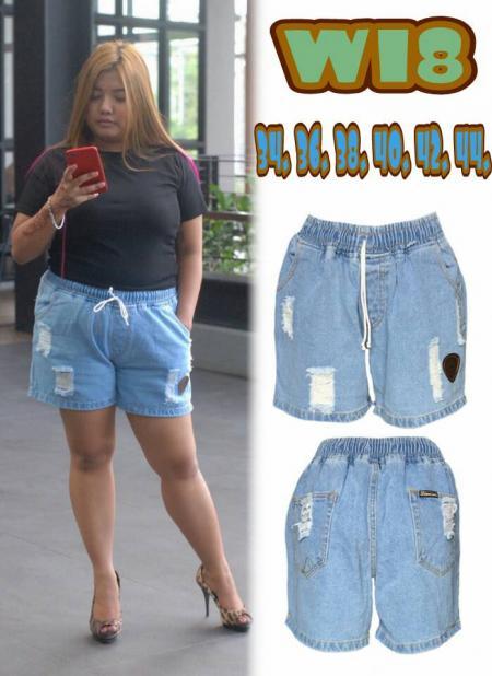 กางเกงยีนส์ขายสั้นไซส์ใหญ่ เอวยางยืด สียีนส์ซีด ขาดหน้าขา บล็อกใหญ่