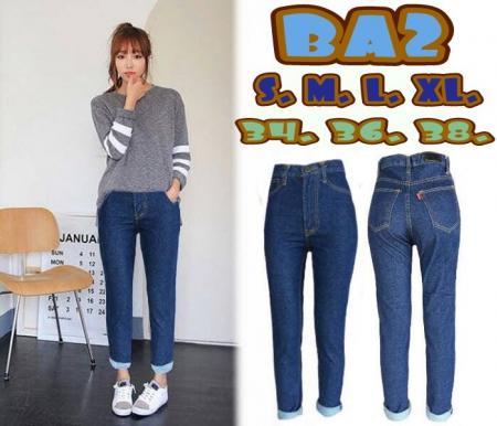 กางเกงยีนส์เอวสูงขายาว ซิบ ทรงบอยเฟรนด์ ฟอกสียีนส์